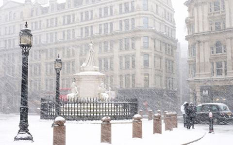 snowy london scenery