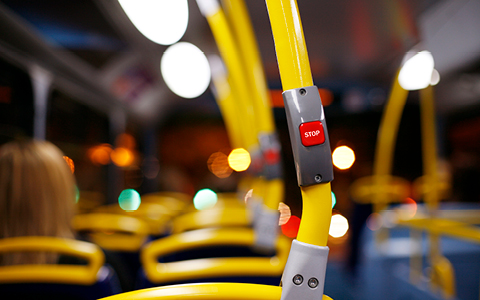 Bus interior and handrails
