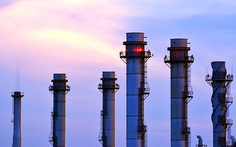 Chimneys at sunset