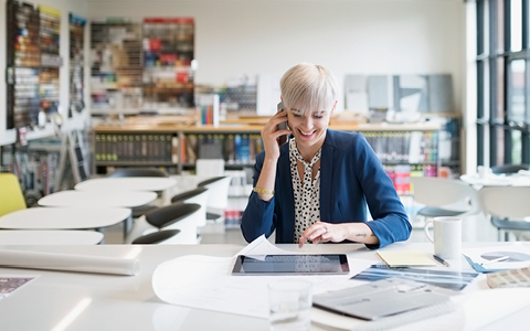 Businesswoman on the phone at desk